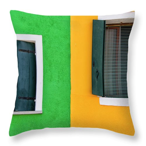 Tranquility Throw Pillow featuring the photograph Sisters Windows, Burano, Italy by Stefan Cioata