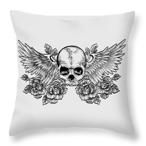Skull Throw Pillow featuring the drawing Skull And Wings by Fernando Trinkenreich