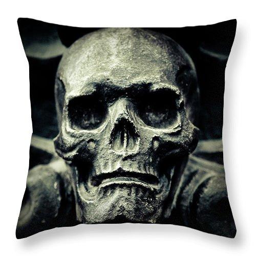 Gothic Style Throw Pillow featuring the photograph Skull by Thepalmer