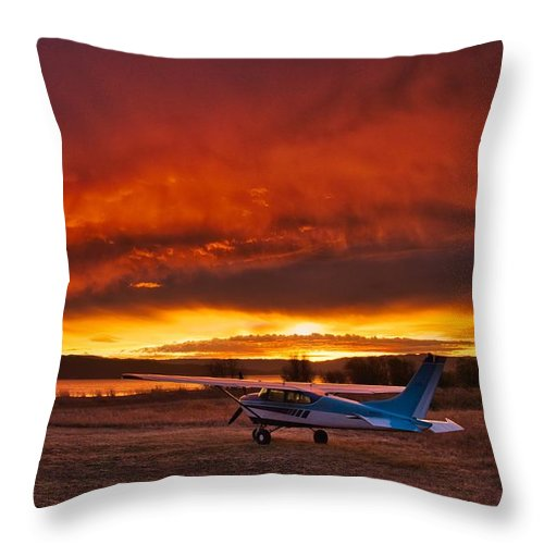 Cessna Throw Pillow featuring the photograph Skylane Sunrise by Tom Gresham