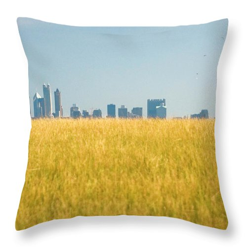 Grass Throw Pillow featuring the photograph Skyscrapers Arising From Grass by By Ken Ilio