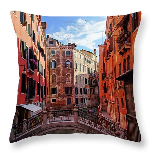 Arch Throw Pillow featuring the photograph Small Canals In Venice Italy by Totororo