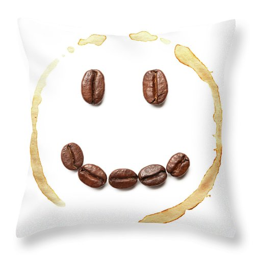 Spray Throw Pillow featuring the photograph Smile Coffee Beans by T kimura