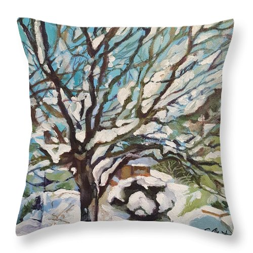 Cherry Tree Throw Pillow featuring the painting Snow Covered Cherry Tree by Mary Chant