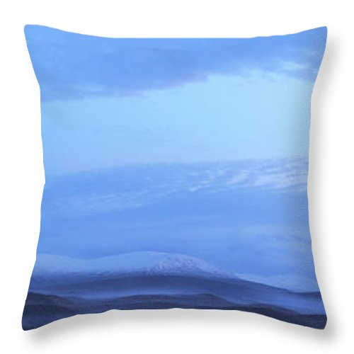 Tranquility Throw Pillow featuring the photograph Snow Covered Hills And Mist At Dawn by Jeremy Walker