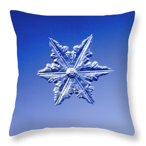 Snow Throw Pillow featuring the photograph Snowflake On Blue Background by Fwwidall
