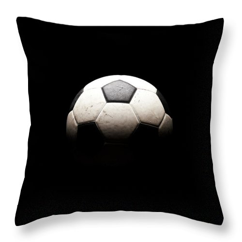 Shadow Throw Pillow featuring the photograph Soccer Ball In Shadows by Thomas Northcut