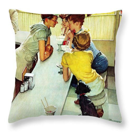 Counterman Throw Pillow featuring the drawing Soda Jerk by Norman Rockwell