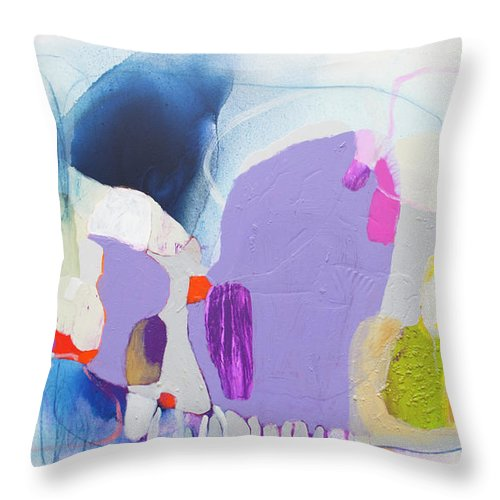 Abstract Throw Pillow featuring the painting Sometime In June by Claire Desjardins