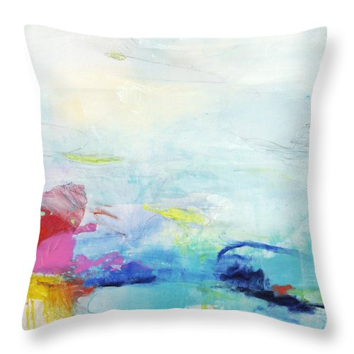 Abstract Throw Pillow featuring the painting Somewhere Else by Claire Desjardins
