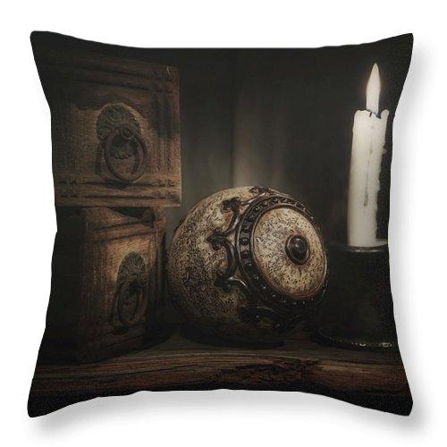 Ball Throw Pillow featuring the photograph Somewhere On A Shelf by Tom Mc Nemar