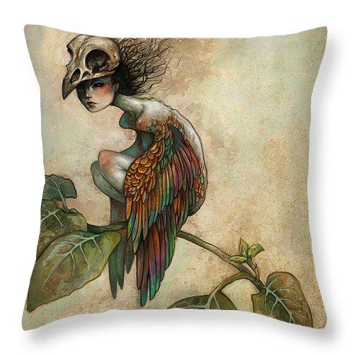 Bird Throw Pillow featuring the painting Soul Of A Bird by Caroline Jamhour