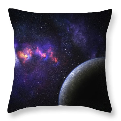 Orange Color Throw Pillow featuring the photograph Space Planet by Sololos