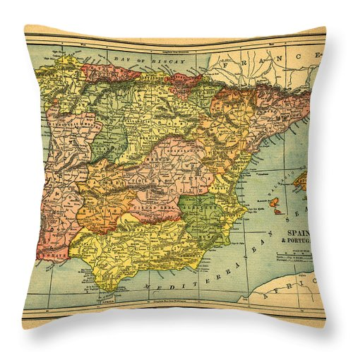 Weathered Throw Pillow featuring the photograph Spain & Portugal Vintage Map by Belterz