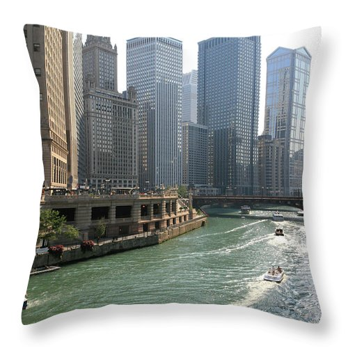 Downtown District Throw Pillow featuring the photograph Spectacular Chicago Downtown by Ekash