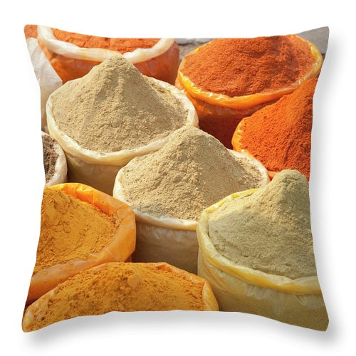 New Delhi Throw Pillow featuring the photograph Spice Display by Grant Faint