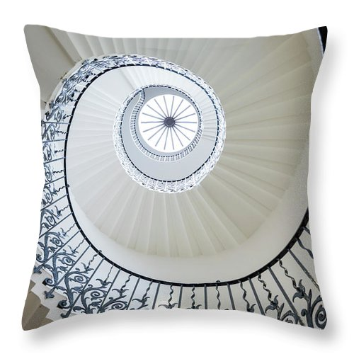 Queen's House Throw Pillow featuring the photograph Spiral Staircase, The Queens House by Peter Adams