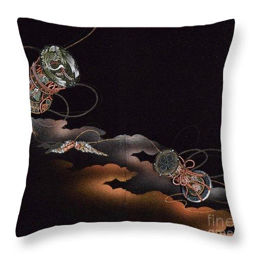Throw Pillow featuring the digital art Spirit of Japan H23 by Miho Kanamori