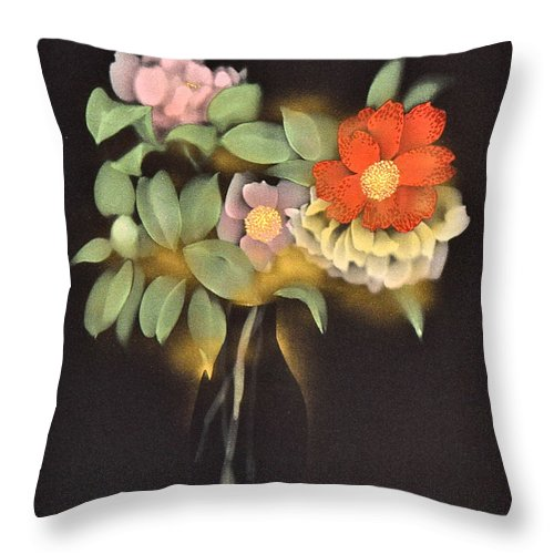 Throw Pillow featuring the digital art Spirit of Japan O1 by Miho Kanamori