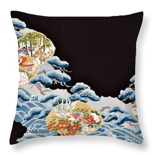 Throw Pillow featuring the digital art Spirit of Japan T6 by Miho Kanamori