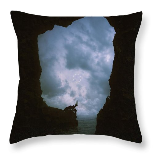 Silhouette Throw Pillow featuring the digital art Spirit Of The Storm by Cambion Art