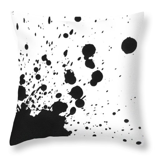 Art Throw Pillow featuring the photograph Splattered Black Paint On White Canvas by Kevinruss