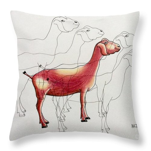 Farm Animals Goat Surrealist Throw Pillow featuring the pastel Split Personality by Graham Wallwork