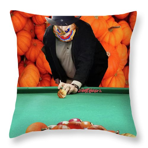 Spooky Pumpkin Pool Throw Pillow featuring the digital art Spooky Pumpkin Pool by Seth Weaver