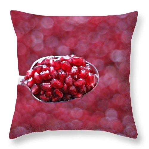 Heap Throw Pillow featuring the photograph Spoon Of Pomegranate by Gulale