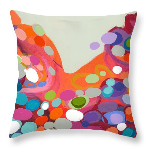 Abstract Throw Pillow featuring the painting Spoonful Of Joy by Claire Desjardins