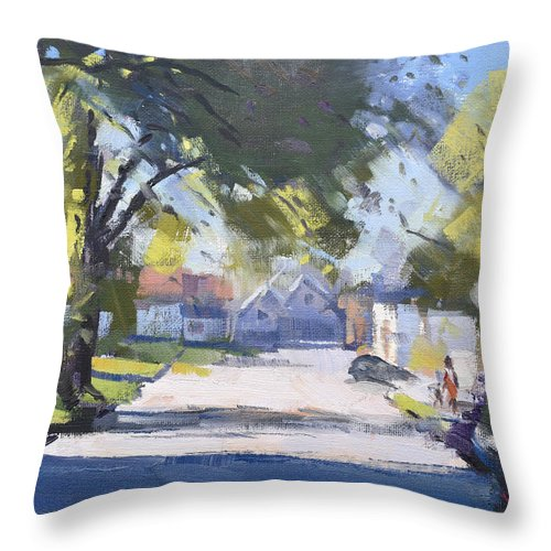 Spring Throw Pillow featuring the painting Spring Sunlight by Ylli Haruni