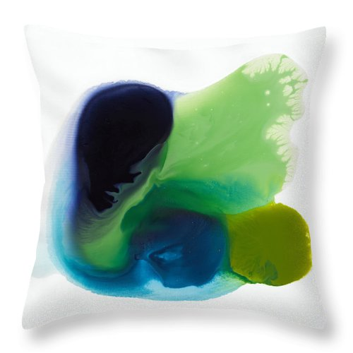 Abstract Throw Pillow featuring the painting Springtime by Claire Desjardins