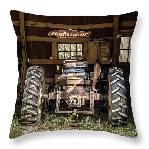 Barn Throw Pillow featuring the photograph Square Format Old Tractor In The Barn Vermont by Edward Fielding