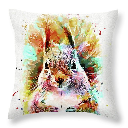 Squirrel Throw Pillow featuring the mixed media Squirrel Painting by Nikolay Radkov