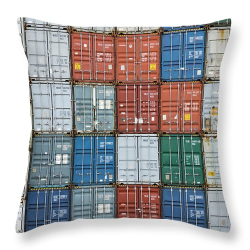 Trading Throw Pillow featuring the photograph Stack Of Cargo Containers Full Frame by Andy Andrews