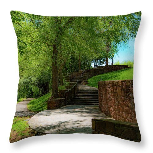 African American Heritage Memorial Park Throw Pillow featuring the photograph Stairway To Carlyle by Lora J Wilson