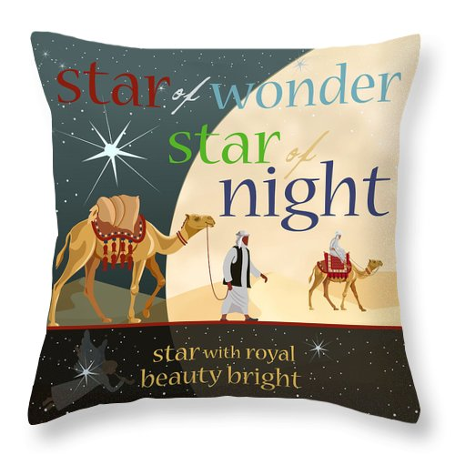 Throw Pillow featuring the digital art Star Of Wonder by Claire Tingen