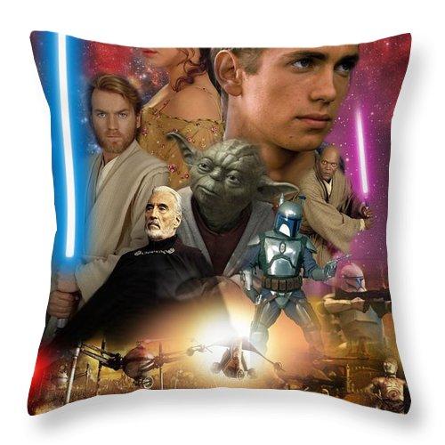 Star Wars Episode Ii Throw Pillow featuring the digital art Star Wars Episode II by Geek N Rock