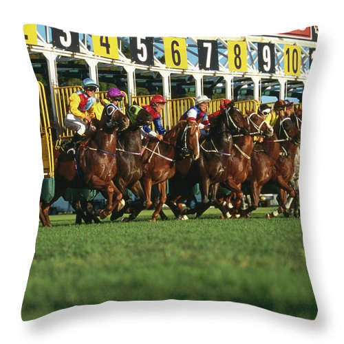 Horse Throw Pillow featuring the photograph Start Of Horse Race, Sydney, New South by Oliver Strewe