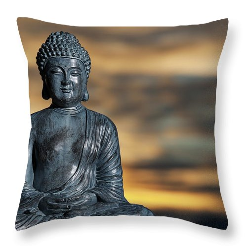 Statue Of Buddha Against A Japanese Throw Pillow For Sale By Wesvandinter