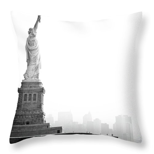 Statue Throw Pillow featuring the photograph Statue Of Liberty by Image - Natasha Maiolo