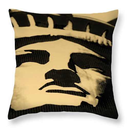 Statue Of Liberty Throw Pillow featuring the photograph Statue Of Liberty In Dark Sepia by Rob Hans