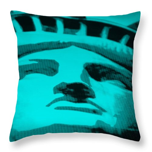 Statue Of Liberty Throw Pillow featuring the photograph Statue Of Liberty In Turquois by Rob Hans
