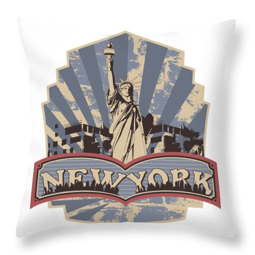 4th-of-july Throw Pillow featuring the digital art Statue Of Liberty New York by Passion Loft