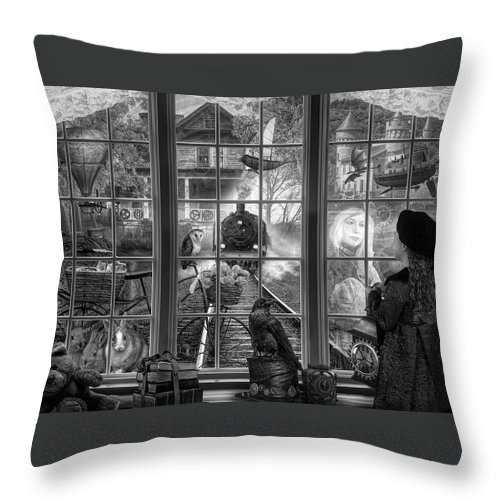 Boats Throw Pillow featuring the digital art Steampunk Dreams In Black And White by Debra and Dave Vanderlaan