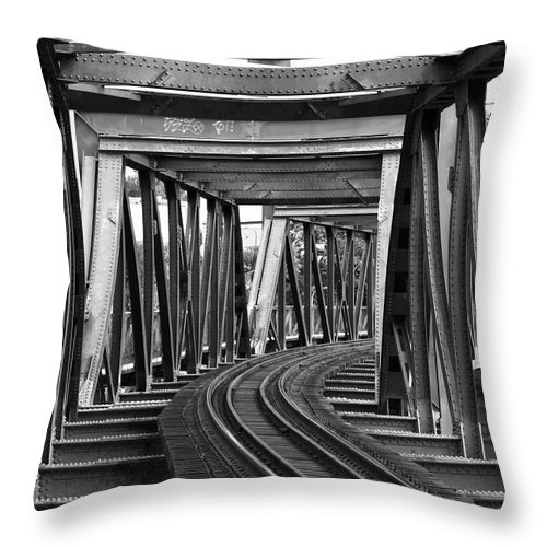 Railroad Track Throw Pillow featuring the photograph Steel Girder Railway Bridge by Peterjseager