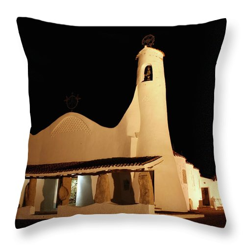 Art And Craft Product Throw Pillow featuring the photograph Stella Maris Church In Porto Cervo With by Photovideostock
