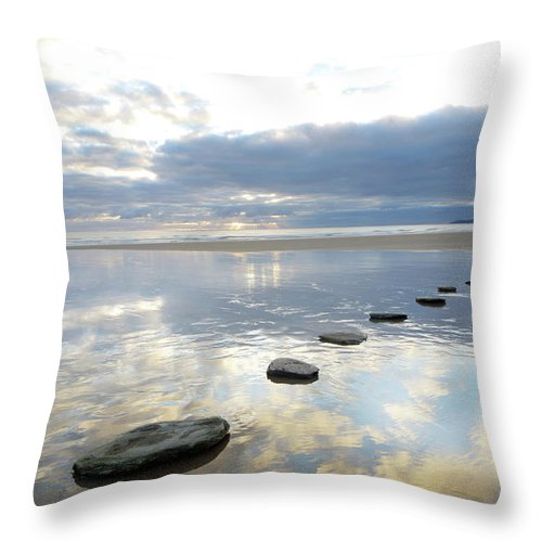 Tranquility Throw Pillow featuring the photograph Stepping Stones Over Water With Sky by Peter Cade