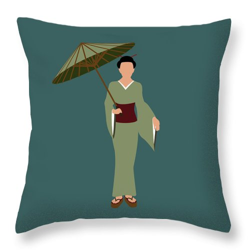 People Throw Pillow featuring the digital art Stereotypical Japanese Woman by Ralf Hiemisch