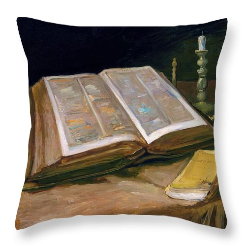 Vincent Van Gogh Throw Pillow featuring the painting Still Life With Bible - Digital Remastered Edition by Vincent van Gogh